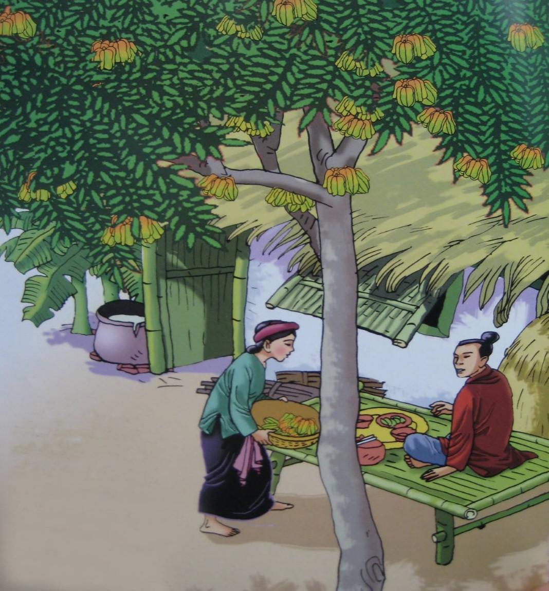 Cây khế có quả, chim đến ăn, người em phàn nàn và chim hẹn trả ơn bằng vàng.
