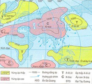 Hinh 4.1. Lược đồ phân bố khí áp và các hướng gió chính về mùa đông (tháng 1) ở khu vực khí hậu gió mùa châu Á