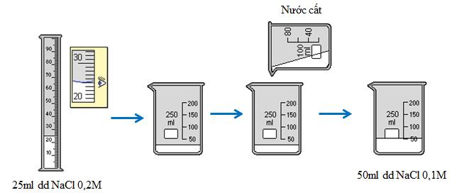 Quá trình pha chế 50 ml dung dịch NaCl 0,1M