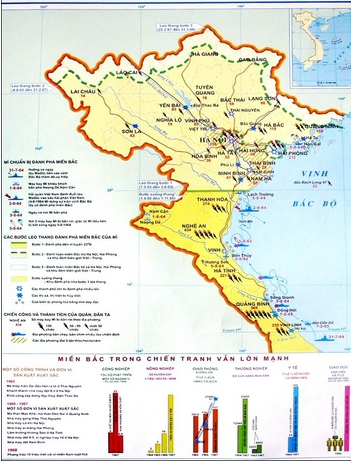 Lược đồ miền Bắc chống chiến tranh phá hoại  lần thứ nhất của Mỹ và tiếp tục xây dựng chủ nghĩa xã hội 1965-1968