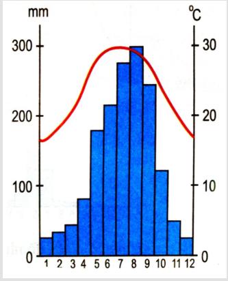 Hinh 55. Biểu đồ nhiệt độ, lượng mưa của Hà Nội