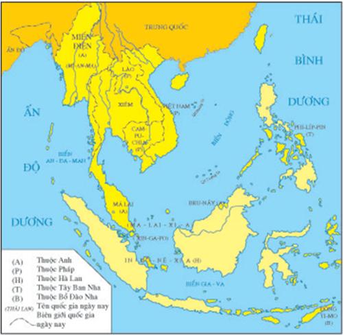 Lược đồ Đông Nam Á cuối thế kỷ XIX đầu thế kỷ XX
