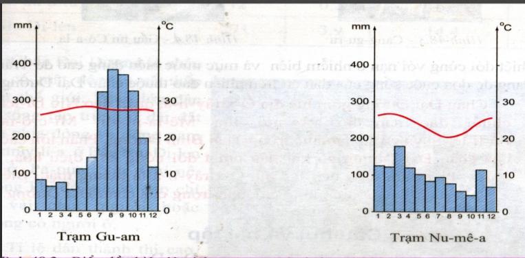 Biểu đồ nhiệt độ và lượng mưa của hai trạm khí tượng ở Châu Đại Dương