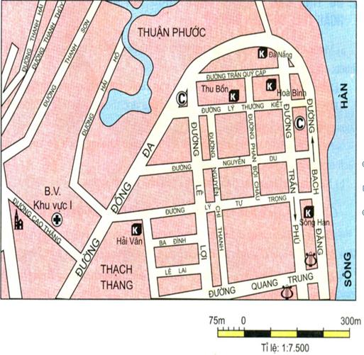 Hình 8: Bản đồ một khu  vực của TP Đà Nẵng