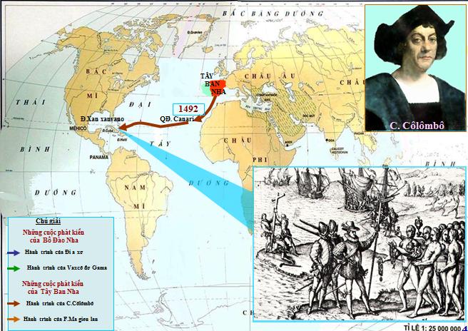Hành trình của Cô-lôm-bô tìm ra Châu Mĩ