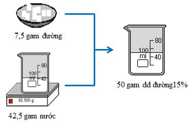 Quá trình pha chế 50 gam dung dịch đường 15%