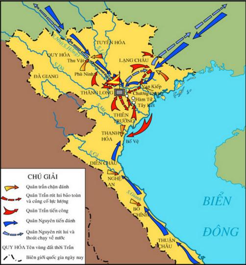 Lược đồ diễn biến cuộc kháng chiến lần thứ hai  chống quân Nguyên năm 1285