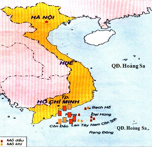 Vị trí một số mỏ dầu và khí ở Việt Nam