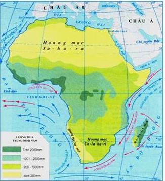 Hinh 27.1. Lược đồ phân bố lượng mưa châu Phi