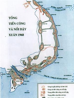 Bản đồ ở Tổng hành dinh Bộ Quốc phòng về cuộc Tổng tiến công và nổi dậy Tết Mậu Thân 1968