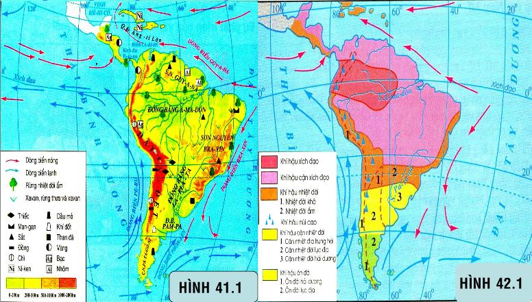 Hình 41.1 và 41.2 Thiên nhiên Trung và Nam Mĩ