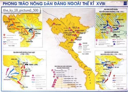 Lược đồ diễn ra các cuộc  khởi nghĩa nông dân ở Đàng Ngoài thế kỷ XVIII