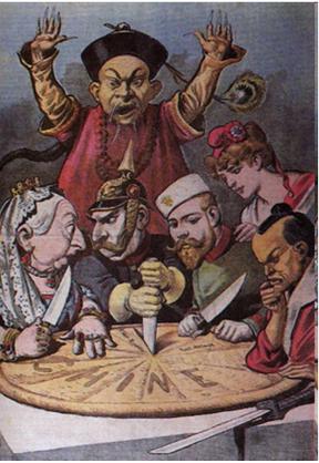 Hình ảnh các nước đế quốc chia Trung Quốc như 1 chiếc bánh