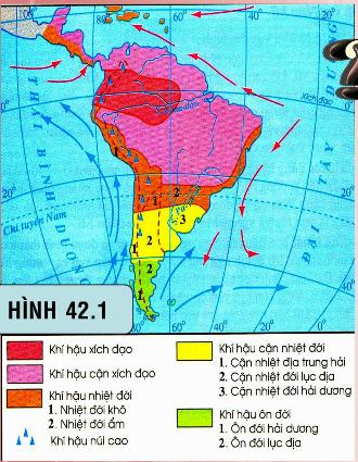 Lược đồ khí hậu Trung Mĩ và Nam Mĩ