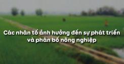 Bài 7: Các nhân tố ảnh hưởng đến sự phát triển và phân bố nông nghiệp