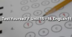 Test Yourself F Unit 15 - 16 English 11