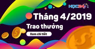 DANH SÁCH NHẬN THƯỞNG THÁNG 4/2019