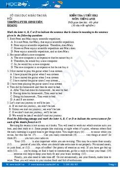 Bộ đề kiểm tra 1 tiết môn Tiếng Anh lớp 12 năm 2016-2017 có đáp án