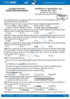Bộ đề kiểm tra 1 tiết môn Hoá học lớp 12 năm 2016-2017 (có đáp án)