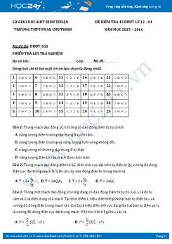 Đề kiểm tra 1 tiết môn Vật lý lớp 12 chương 4 năm 2015-2016 - THPT Phan Chu Trinh (Có đáp án)