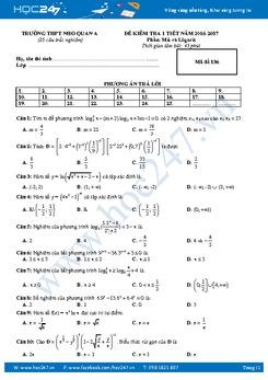 8 Đề kiểm tra 1 tiết môn Giải tích lớp 12 chương 2 năm 2016-2017 - THPT Nho Quan A