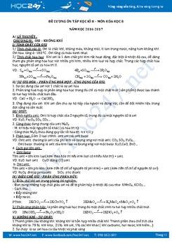 Đề cương ôn thi Học kì 2 môn Hóa học lớp 8