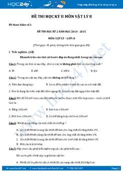 3 đề thi Hoc kì 2 môn Vật Lý lớp 8 có lời giải và đáp án chi tiết năm 2017