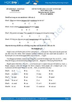 Bộ 3 đề thi vào lớp 10 THPT môn tiếng Anh qua các năm có đáp án
