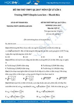 Đề thi thử THPT QG 2017 môn Vật Lý lần 1 trường Chuyên Lam Sơn- Thanh Hóa có đáp án