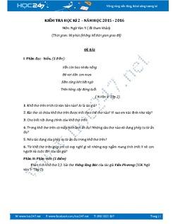 Đề thi học kì 2 môn Ngữ văn lớp 9 đề số 1