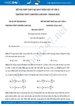 Đề thi thử THPT QG 2017 môn Vật Lý lần 2 trường Chuyên Lam Sơn - Thanh Hóa có đáp án
