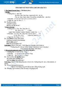 Tổng hợp ngữ pháp tiếng Anh lớp 6 học kỳ I