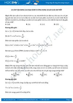 14 câu trắc nghiệm đạo hàm và ứng dụng vận dụng cao có giải chi tiết