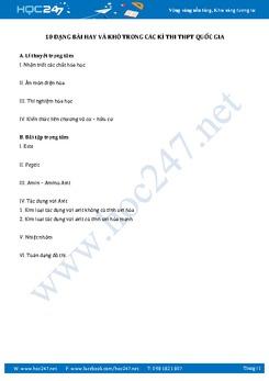 10 Dạng bài vận dụng cao môn Hóa ôn thi THPT Quốc Gia có giải chi tiết