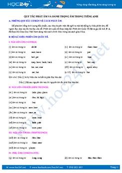 Hướng dẫn quy tắc phát âm và đánh dấu trọng âm trong Tiếng Anh