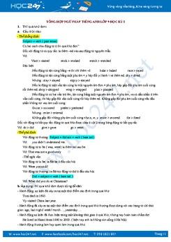 Tổng hợp ngữ pháp Tiếng Anh lớp 9 học kỳ I