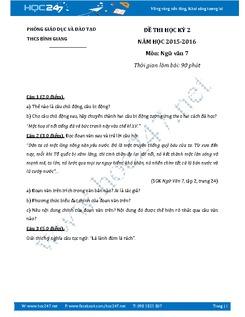 Đề thi học kì 2 Ngữ văn 7 năm 2016 - THCS Bình Giang
