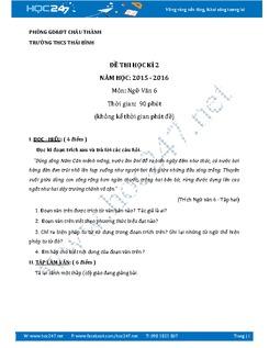 Đề thi học kì 2 Ngữ văn 6 năm 2016 THCS Thái Bình