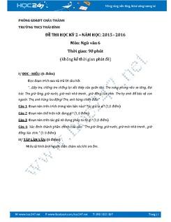 Đề thi học kì 2 môn Ngữ văn lớp 6 năm 2016 - Trường THCS Thái Bình (Đề 2)
