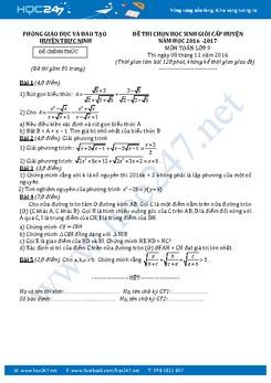 Đề thi HSG Toán 9 cấp huyện năm 2016-2017 Phòng GD&ĐT Trực Ninh có đáp án