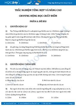 140 câu trắc nghiệm Động học chất điểm Vật Lý 10 có đáp án