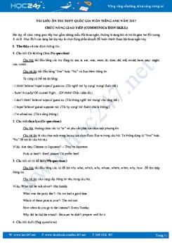 Tài liệu ôn thi THPT Quốc gia môn tiếng Anh chức năng giao tiếp