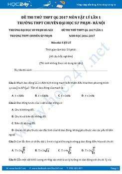 Đề thi thử THPT QG 2017 môn Vật Lý trường Chuyên ĐH Sư Phạm- Hà Nội