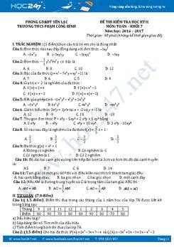 Đề kiểm tra HK 2 môn Toán 7 năm 2016-2017 Trường THCS Phạm Công Bình có đáp án