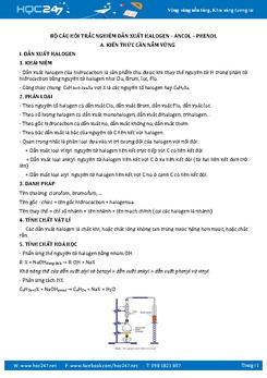 187 câu trắc nghiệm Dẫn xuất halogen - Ancol - Phenol Hóa 11 có đáp án