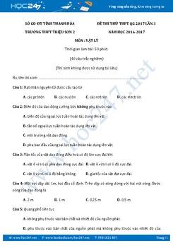 Đề thi thử THPT QG 2017 có đáp án môn Vật Lý THPT Triệu Sơn- Thanh Hóa