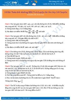 10 Bài Toán bồi dưỡng HSG 9 và Luyện thi lên lớp 10 Chuyên (Chuyên đề: Hình học)