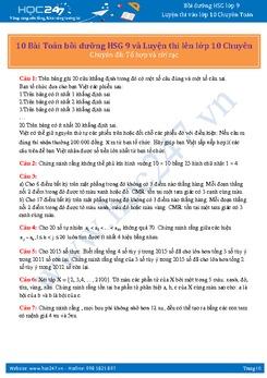 10 Bài Toán bồi dưỡng HSG 9 và Luyện thi lên lớp 10 Chuyên (Chuyên đề: Tổ hợp và rời rạc)