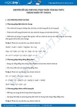 Chuyên đề Các phương pháp phân tích đa thức thành nhân tử Toán 8