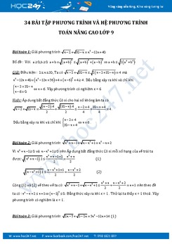 34 Bài tập phương trình và hệ phương trình Toán nâng cao 9